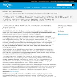 News 2016 - ProQuest's Pivot® Automatic Citation Ingest from ORCID Makes Its Funding Recommendation Engine More Powerful