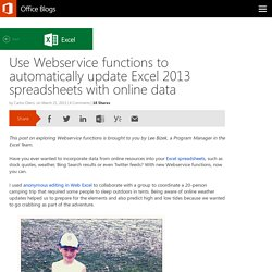Use Webservice functions to automatically update Excel 2013 spreadsheets with online data