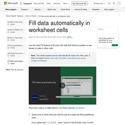 Fill data automatically in worksheet cells - Excel