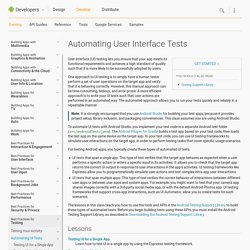 Automating User Interface Tests