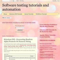 Selenium IDE - Generating Random Alpha Numeric Or Numeric String