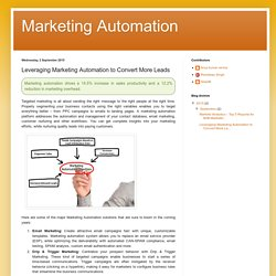 Marketing Automation : Leveraging Marketing Automation to Convert More Leads