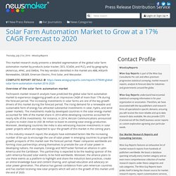 Solar Farm Automation Market to Grow at a 17% CAGR Forecast to 2020