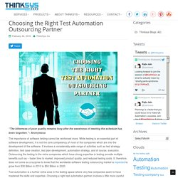 Choosing Right Test Automation Outsourcing Partners