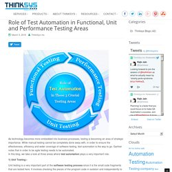 What Role Does Test Automation Play In Functional, Unit, Performance Testing?