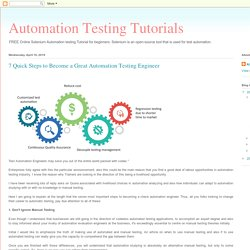 Automation Testing Tutorials: 7 Quick Steps to Become a Great Automation Testing Engineer