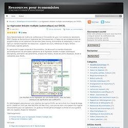 La régression linéaire multiple (automatique) sur EXCEL