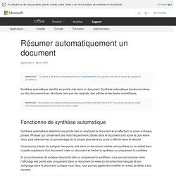 Résumer automatiquement un document - Word