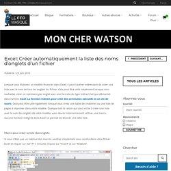 Excel: Créer automatiquement la liste des noms d'onglet d'un fichier