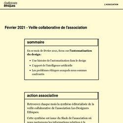 Automatisation & design - Veille Février 2021 - Les Designers Éthiques