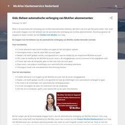 Gids: Beheer automatische verlenging van McAfee-abonnementen
