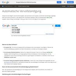 Automatische Vervollständigung - Websuche-Hilfe