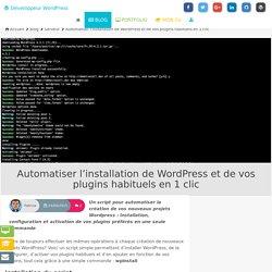 Automatiser l'installation de WordPress et de vos plugins habituels en 1 clic