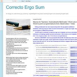 Macros for Teachers: Automatiserte Merknader / Short cuts in Word to point out grammatical errors: Beskrivelse + Video