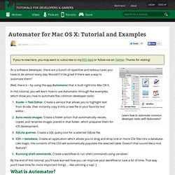 Automator for Mac OS X: Tutorial and Examples