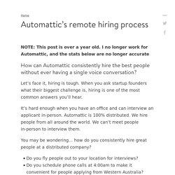 Inside Automattic's remote hiring process