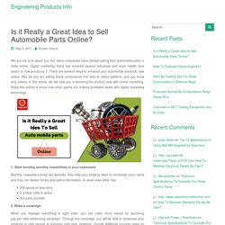 Is it Really a Great Idea to Sell Automobile Parts Online?