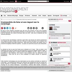 L'automobile du futur et son impact sur le recyclage – Déchets et recyclage – Environnement-magazine.fr