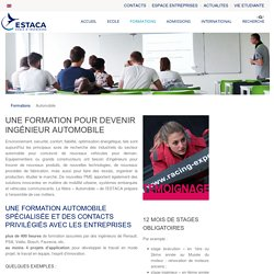 Formation Ingénieur Automobile - Ecole d'Ingénieurs ESTACA