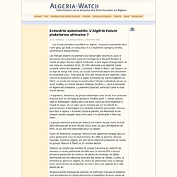 Industrie automobile: L'Algérie future plateforme africaine ?