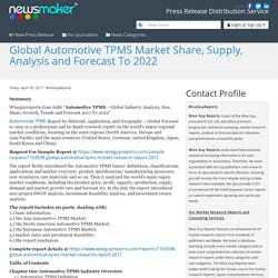 Global Automotive TPMS Market Share, Supply, Analysis and Forecast To 2022