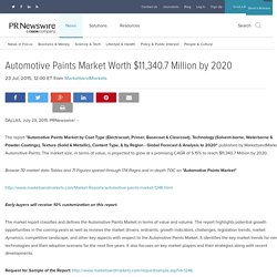 Automotive Paints Market Worth $11,340.7 Million by 2020