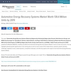 Automotive Energy Recovery Systems Market Worth 139.4 Million Units by 2019