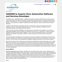 to Acquire S1nn Automotive Software and Services Developer