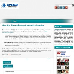 Gear Up: Tips on Buying Automotive Supplies