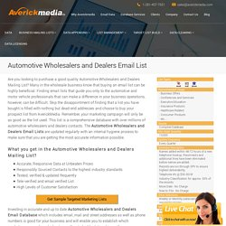 Automotive Wholesalers and Dealers Email List