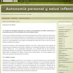 Autonomía personal y salud infantil: Adquisición de hábitos