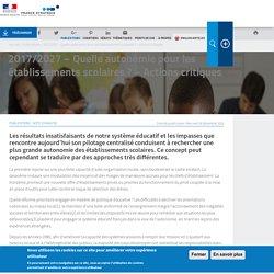 2017/2027 – Quelle autonomie pour les établissements scolaires ? – Actions critiques