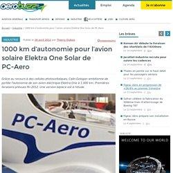 1000 km d'autonomie pour l'avion solaire Elektra One Solar de PC-Aero - Aerobuzz