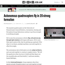 Autonomous quadrocopters fly in 20-strong formation