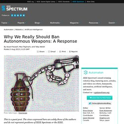 Why We Really Should Ban Autonomous Weapons: A Response