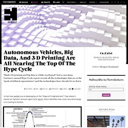 Autonomous Vehicles, Big Data, And 3-D Printing Are All Nearing The Top Of The Hype Cycle