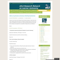 AILA 2014 learner autonomy related presentations