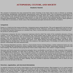 AUTOPOIESIS, CULTURE , AND SOCIETY