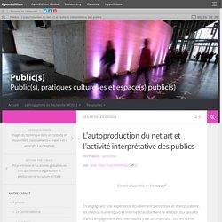 L'autoproduction du net art et l'activité interprétative des publics – Publics