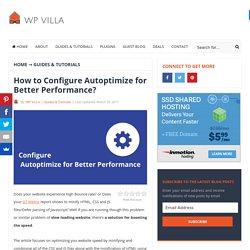 How to Configure Autoptimize for Better Performance? - WP VILLA