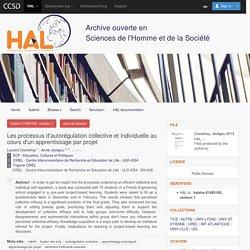 Les processus d'autorégulation collective et individuelle au cours d'un apprentissage par projet - HAL-SHS - Sciences de l'Homme et de la Société