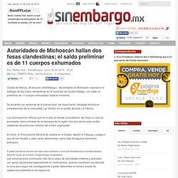 Autoridades de Michoacán hallan dos fosas clandestinas; el saldo preliminar es de 11 cuerpos exhumados