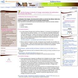 Droits d'auteur et droits à l'image, autorisation de publication des travaux des élèves- Pédagogie (DSDEN, Ac de Poitiers)