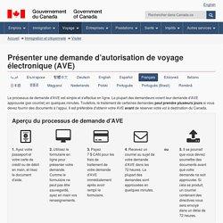Présenter une demande d'autorisation de voyage électronique (AVE)