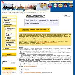 Exemple d'autorisation de publication de travaux élèves