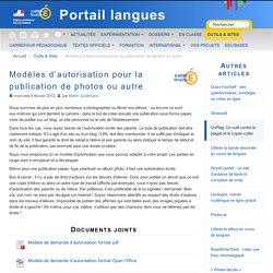 Modèles d'autorisation pour la publication de photos ou autre