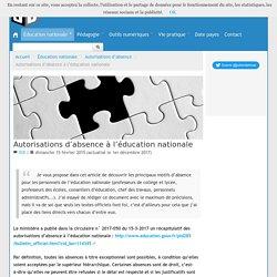 Autorisations d'absence à l'éducation nationale - Blog de Julien Delmas