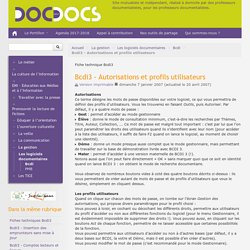 Bcdi3 - Autorisations et profils utilisateurs