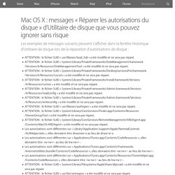 MacOSX: messages «Réparer les autorisations du disque» d'Utilitaire de disque que vous pouvez ignorer sans risque - Assistance Apple