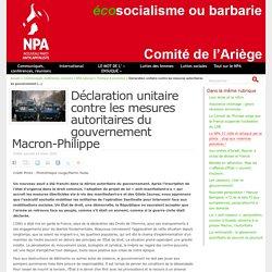 Déclaration unitaire contre les mesures autoritaires du gouvernement Macron-Philippe